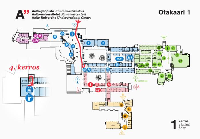 Kartta josta näet reitin luokkaan Y405 pääovelta.